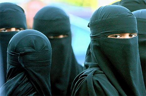 Women wearing Muslim veil.
