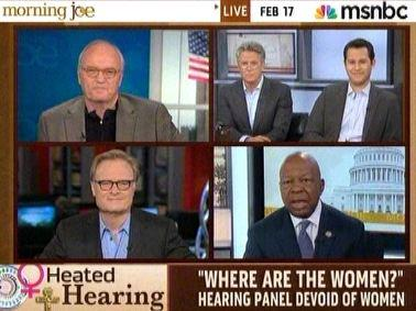 Screenshot of nothing but men talking about the lack of women in the discussions on contraception.