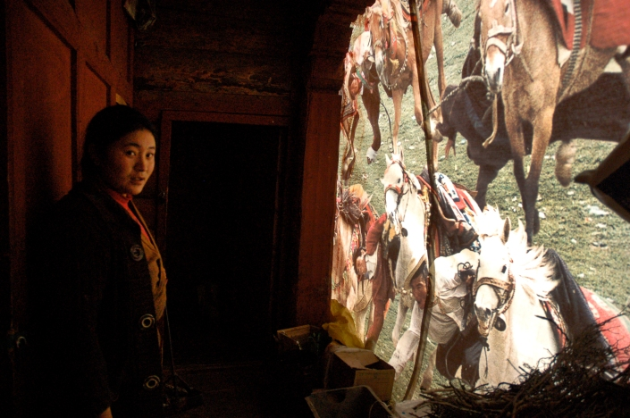 Woman at a monastery in Litang, Sichuan Province