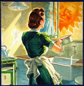 Fuel Economy Keep on saving coal (housewife at kitchen sink) Artist Marc Stone